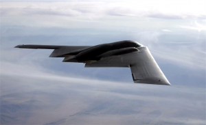 The B-2 Spirit flying through the sky.