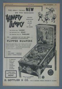 Advertisement for Humpty Dumpty pinball machine